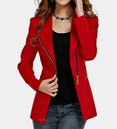 Women's Autumn Oversize Slim Fit Bodycon Zipper Suit Coat Jacket Blazer Outwear US 2-4 Red  BUY NOW     $35.68    This unique design blazer is slim fitted and it can wear both in formal and casual occasion. It can wear to work or wear to party. Versatile casual and office blazer  ..