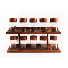 Image of Digsmed Danish Modern Teak Spice Rack & Containers - Set of 11