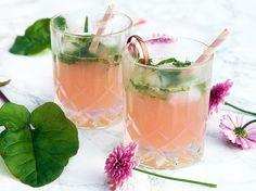 Opskrift på en skøn og sommerlækker cocktail med rabarber og hyldeblomst - nem og smuk drink til en sommeraften i haven - få opskriften her