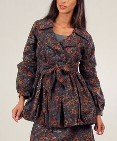 Another great find on #zulily! Brown & Green Judith Floral Jacket by Ian Mosh #zulilyfinds