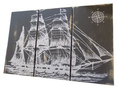 Vintage Pirate Ship SAILBOAT - Screen Print - Wood Painting - Hanging Wall Art on Stained Solid BIRCH 3/4 inch thick - Gift for Him/ Her  Print includes (3) approx. 12 by 24 rectangular panels Panels are approx. 3/4 thick Natural Birch wood panels All panels were painted with a dark gray paint and distressed then printed with white ink.  FEEL FREE TO CHOOSE A DIFFERENT COLOR COMBINATION FOR THIS DESIGN. SEND ME A MESAGE IN NOTES TO SELLER AT CHECKOUT.   Each Design has small h...