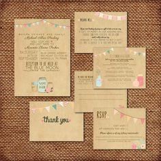Wedding Invitation Suite DEPOSIT  Printed Custom by SplashOfSilver