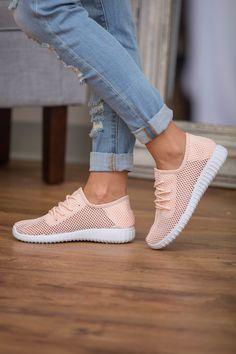 The Bonnie Knit Sneakers Light Peach