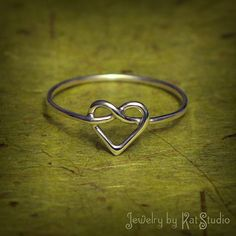 Beautimus! Knot Heart Ring  love knot ring  Infinity Heart  by Katstudio