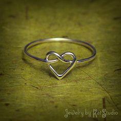 Beautimus! Knot Heart Ring  love knot ring  Infinity Heart  by Katstudio