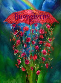 Rainbow Art Mixed Media - Raining Roses by Carol Cavalaris Diy Embroidery Patterns, Rose Embroidery, Umbrella Painting, Canvas Art, Canvas Prints, Red Umbrella, Flower Stands, Rainbow Art, Rose Art