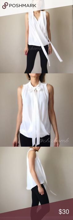 """Bow tie sleeveless blouse. Executive wear n casual Bow tie top, sleeveless .Faux fold around blouse with hidden secure button. 100%lightweight breathable poly blend. Size S 27"""", bust38"""",waist38"""". M:27"""",39"""",39"""". L:28,40"""",40. NO TRADE CHICBOMB Tops Blouses"""