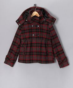 Perfect Zulily Fall Essential for kids! Take a look at this Red Plaid Hooded Coat - Girls by Blow-Out on #zulily today!
