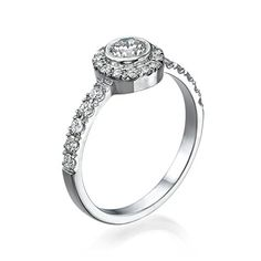 Solitaire Diamond Ring 1/2 ct, K Color, VS1 Clarity, Certified, Round Cut, in 14K Gold / White   Your #1 Source for Jewelry and Accessories