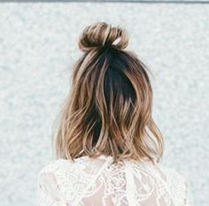 Little time to do your hair? Try doing 1/2 top knot, 1/2 down