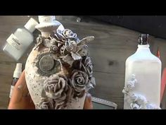 PowertexCreations is the North America distributor of Powertex fabric hardener. Learn how to decorate a sphere by using Powertex fabric stiffener, plaster fi. Altered Bottles Tutorial, Shabby Chic Canvases, Fabric Stiffener, Vase Crafts, Decoupage Tutorial, Texture Paste, Bottles And Jars, Mixed Media Canvas, Bottle Art