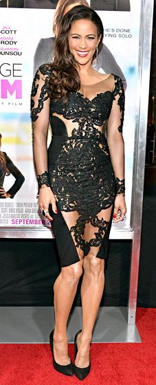 Paula Patton hit the Sept. 25 L.A. premiere of her new film, Baggage Claim, in a revealing semi-sheer black lace Rhea Costa dress and Giuseppe Zanotti pumps. She accessorized with an Inge Christopher clutch, David Yurman rings, and Parade Designs earrings.