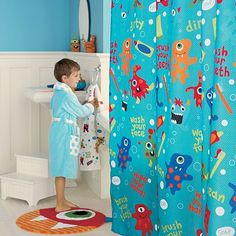 Who likes monsters?! Awesome monster shower curtain for kids bathroom.