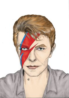 Illustration. David Bowie. Pencil on paper + digital painting. A3 size.