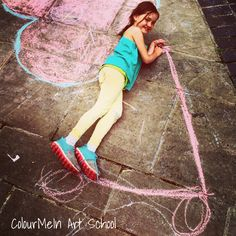 Christopher Place Event, July 2016 St Albans. Chalks on pavements. Colour Me In Art School, www.bespokeyourhArt.com