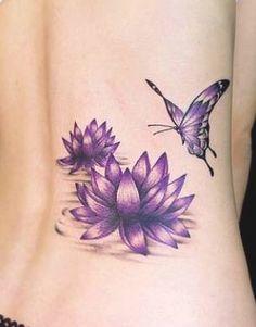 Tatuaggio fior di loto con farfalla