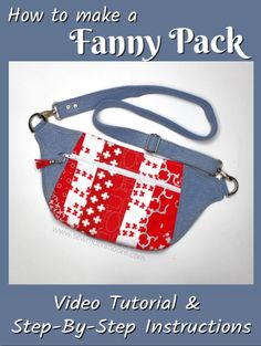 Fanny Packs are the perfect bag for travel and for hands free! The Dayna Pack is a great Fanny Pack pattern. Get this fun and simple pattern to make your own Fanny Pack! Watch the video tutorial too! Bag Patterns To Sew, Sewing Patterns, Sewing Hacks, Sewing Tutorials, Sewing Tips, Fanny Pack Pattern, Pouch Pattern, Sewing Leather, Sewing Projects For Beginners