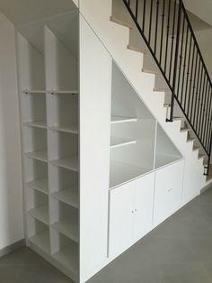 Most creative stair with storage inspirations 15 Understairs Storage CREATIVE Inspirations Stair storage Staircase Storage, Basement Storage, Staircase Design, Basement Remodeling, Storage Under Stairs, Under Stairs Drawers, Cabinet Under Stairs, Staircase Bookshelf, Storage Shelves