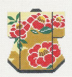 *2015 NEW* Oriental Red Blossoms Petite Kimono handpaint Needlepoint Canvas LEE