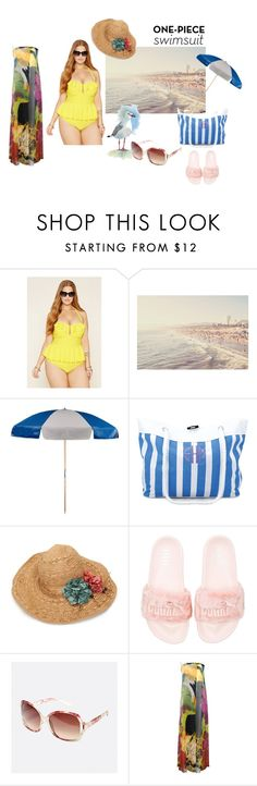 """""""Yep, there in! The One Piece! #onepieceswimsuit"""" by freida-adams ❤ liked on Polyvore featuring Forever 21, Puma and Avenue"""