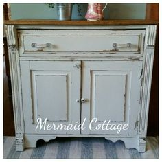 Refinished Antique Washbasin / Commode done in Champlain Fusion Paint by Mermaid Cottage, Nova Scotia