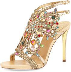 Rene Caovilla Multi-Crystal Strappy Sandal, Gold/Multi on shopstyle.com