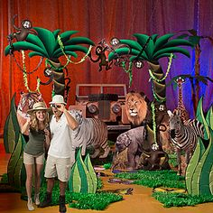 Our Deluxe Set the Stage #Safari Party Kit has lions, tigers and even monkeys swinging from a tree.