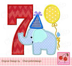 Birthday Elephant Number 7,  Baby Elephant with number 7, Birthday number applique -4x4 5x5 6x6 inch-Machine Embroidery Applique Design by CherryStitchDesign on Etsy