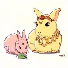 Neo Queen Serenity and Princess Lady Serenity as rabbits.