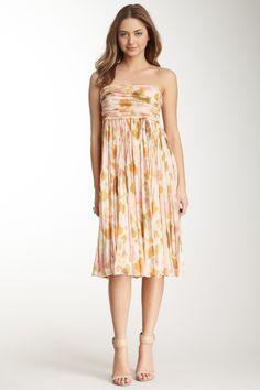 Strapless Print Silk Dress