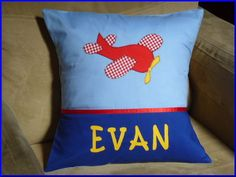 CHILD'S/BOY'S PERSONALISED NAME CUSHION COVER /NURSERY/SHOWER/GIFT/ - PLANE - #MandyJDesigns