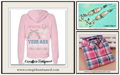 "ON SALE!  COWGIRL ATTITUDE SWEATSHIRT Pink ""Cowgirl Up or Go Sit Your Ass In The Truck"" Zip Up Western Hoodie Sweatshirt/ Plaid Button Down/ Silver Horse Earrings  #sweatshirt #cowgirlup #womens #clothing #wholesale #barbedwire #cowgirl #western #horseriding #horserider #barrelracing #rodeo #pink  #sityourassinthetruck #sixshooter #gun #hoodie #horse #silver #vintage #earrings #plaid #shirt #onlineshopping Cowgirl Fashion, Plaid Fashion, Cowgirl Style, Rodeo Outfits, Western Outfits, Western Wear, Cute Sweaters For Fall, Gypsy Clothing, Silver Horse"