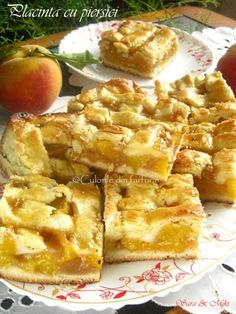 Placinta-cu-piersici-4 Romanian Desserts, Romanian Food, Yami Yami, Grocery Lists, Apple Pie, Nutella, Tart, Recipies, Sweet Treats
