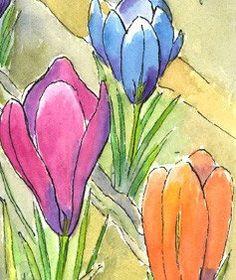 Floral Art Fantasy Crocus Garden 5x7 Print from by eringopaint, $17.00
