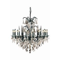 """Athena 35"""" Crystal Chandelier with 16 Lights - Dark Bronze Finish and Smokey / Royal Cut Crystal"""