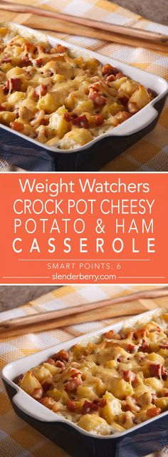 Weight Watchers Crock Pot Cheesy Potato & Ham Casserole Recipe - 6 Smart Points with ham casserole Crock Pot Cheesy Potato & Ham Casserole - Slenderberry Weight Watcher Dinners, Plats Weight Watchers, Weight Watchers Recipes With Ham, Weight Watchers Casserole, Ham Recipes, Healthy Recipes, Crockpot Recipes With Potatoes, Recipes Dinner, Low Calorie Recipes Crockpot