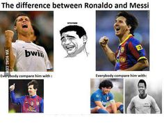Learn The Difference : Cristiano Ronaldo vs Lionel Messi - 9GAG