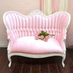 Victorian Style Pink Velvet Sofa ~ <3<3<3 #thebellacottage #shabbychic #PINK #OOAK