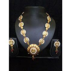Temple Jewellery famous Long Laxmi Coin Necklace Set