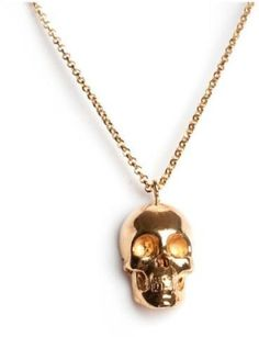 Leivan Kash Skull Necklace (Yellow) in Gold #jewellery #necklace