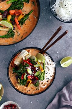 Better than takeout, this vegan Thai red curry noodle soup with winter vegetables is layered with warm, spicy, and comforting aromatic flavors. Thai Noodle Soups, Thai Soup, Calories In Vegetables, Curry Noodles, Vegetarian Recipes, Healthy Recipes, Healthy Food, Asian Recipes, Ethnic Recipes