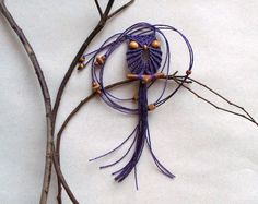 Macrame Owl Necklace - Purple by macraMe on etsy