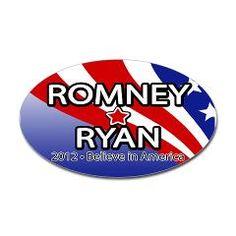 Romney Ryan Wavy Stripes Oval Bumper Sticker