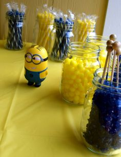 Despicable Me Minion Party . Royal Blue & Yellow Candy Buffet .
