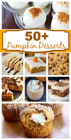 Pumpkin Desserts A round up of more than 50 easy pumpkin dessert recipes! via round up of more than 50 easy pumpkin dessert recipes! Thanksgiving Desserts, Holiday Desserts, Just Desserts, Delicious Desserts, Dessert Recipes, Yummy Food, Thanksgiving Sides, Dessert Bars, Dinner Recipes