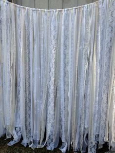Romantic Lace Ribbon Backdrop Wedding - Baby Shower - Nursery - Fabric Garland - Lace Ribbon - 20 ft x 6 ft on Etsy, $342.00