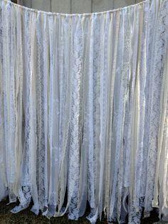 Romantic Lace Ribbon Backdrop Wedding - Baby Shower - Nursery - Fabric Garland - Lace Ribbon -  20 ft x 6 ft on Etsy, $342.00