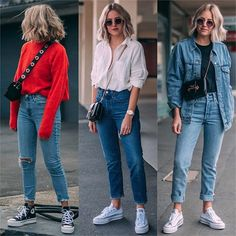 Which outfit would you add to your shopping list? Orange Pants Outfit, Grey Skinny Jeans Outfit, Simple Outfits, Trendy Outfits, Cute Outfits, Outfits With Converse, Jean Outfits, Winter Fashion Outfits, Summer Outfits