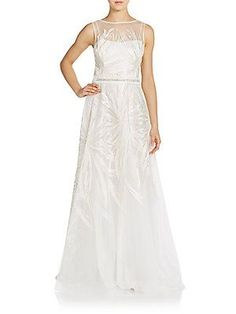 Rickie Freeman by Teri Jon Embroidered Tulle Illusion Gown - Ivory - S