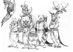 The Characters from the story; Hector, the Gang-gang cockatoo, Sebastian, the Quoll, Ackley & Amber, the puggle babes, Pearce, the Quoll, Gorgon, the Dragon Lizard, Babble, the Sugar Glider, and in the background, we have Bynie the Black-faced Kowari atop his faithful friend Lazlo, the Wombat. http://amzn.to/XxcqPB